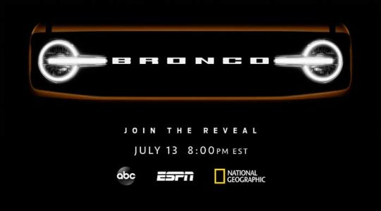 Ford Bronco unveil happens July 13, will be on TV