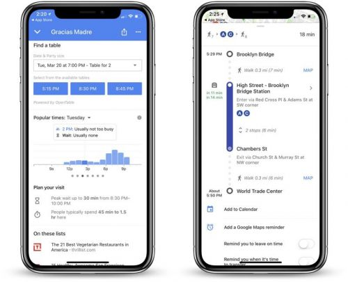 Google Maps for iOS Gains Restaurant Wait Times, Improved Transit Directions and More