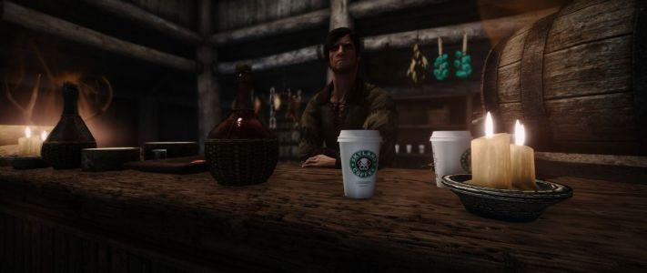 There Is Now A Starbucks Cup Mod For Skyrim