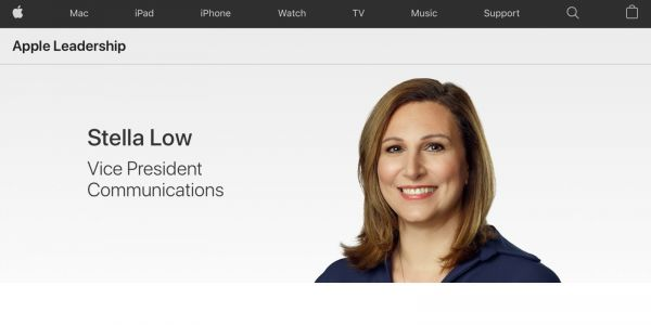 Apple updates Leadership website to officially add Stella Low as its new VP of communications