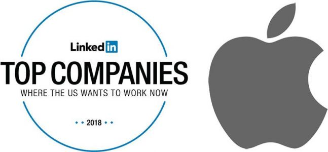 Apple Rises to Sixth in LinkedIn's 2018 List of Top Companies to Work, Trails Amazon, Alphabet, and Facebook