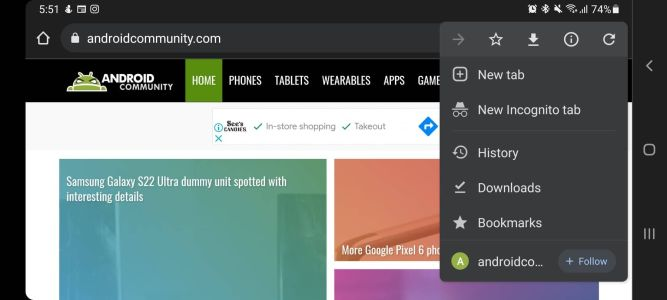 Chrome for Android brings Follow button for your favorite websites