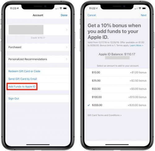 Apple Offering 10% Bonus When Adding Funds Directly to Apple ID