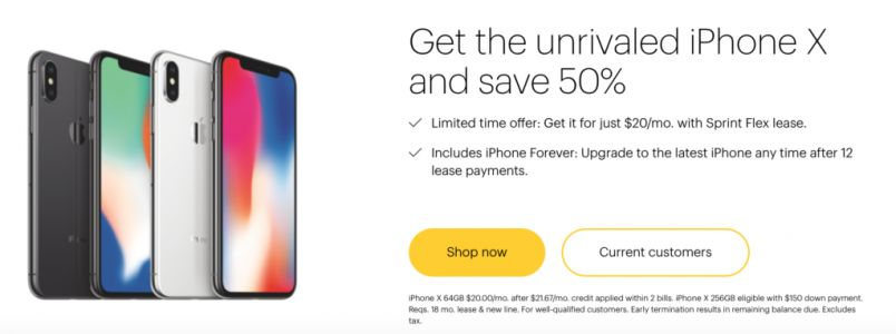 Sprint's Offering an Limited Time Only iPhone X Deal, 50 Percent Off