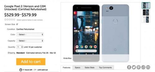 You can get a refurbished Pixel 2 for only $530 or $580 right here