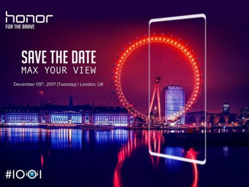 The bezel-less Honor V10 is likely to debut on December 5th