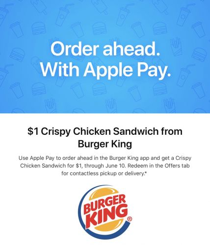 Apple Pay Promo Offers $1 Crispy Chicken Sandwich From Burger King