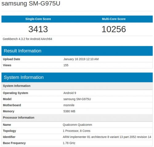 Samsung Galaxy S10+'s Powerful Internals Shown By Geekbench