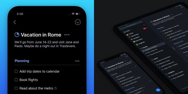 Things task manager for iPhone and iPad gains customizable dark mode
