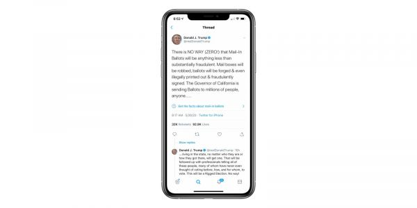 Twitter puts a fake news tag on Trump tweets for the first time