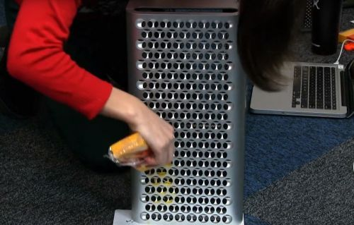 Someone actually grated cheese on the Mac Pro