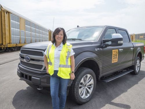 Ford shows off electric F-150 truck by towing a million pounds of train