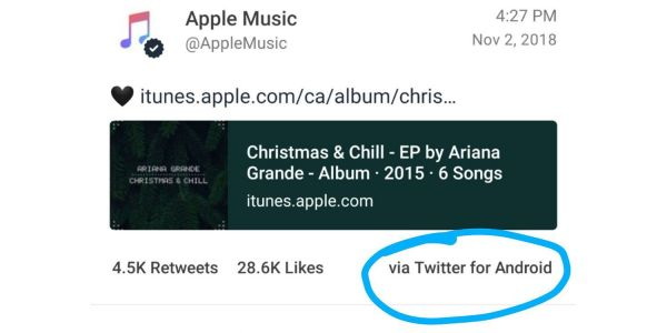 Apple Music account tweets using Twitter for Android