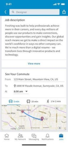 LinkedIn Now Lets You Know How Far Your New Job Is