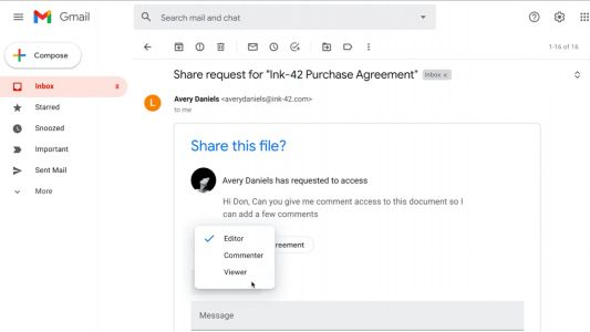 Google Drive using dynamic emails to let you grant file access directly in Gmail