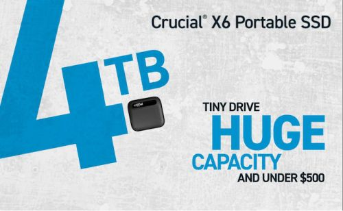 Crucial X6 Portable SSD 4TB Launches at $490: Phison's U17 Flash Controller Enters Retail