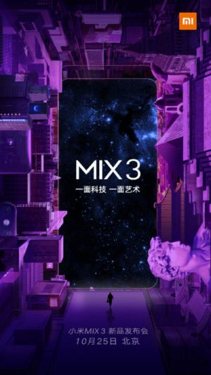 Xiaomi Mi MIX 3 Launching On Oct. 25 With 5G Support, 10GB Of RAM