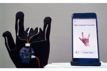A high-tech glove paired with a smartphone can translate sign-language