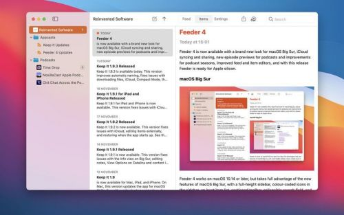 RSS feed creator Feeder 4.0 adds iCloud sync, Big Sur redesign, and more