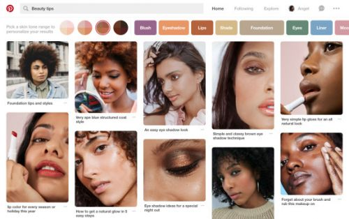 Pinterest can now filter beauty tips results by skin tone