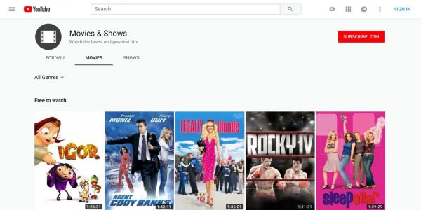You can now watch full blockbuster movies on YouTube for free. thanks to ads