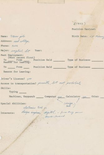 Steve Jobs' 1973 job application fetches $174,000 at auction