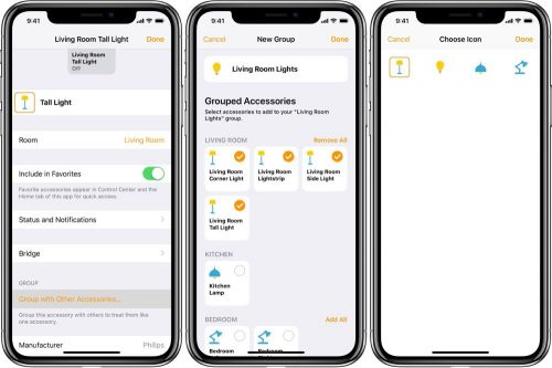 How to group smart accessories in the Home app