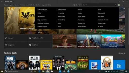 Microsoft Testing 'Departments' Section In Microsoft Store
