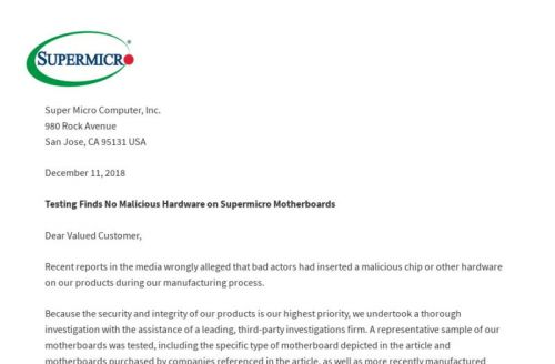 Supermicro refutes report of malicious implants with audit