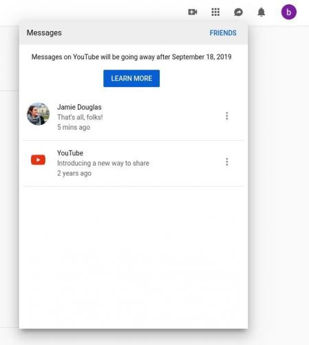 YouTube To Kill Off Its Built-In Messaging Feature In September
