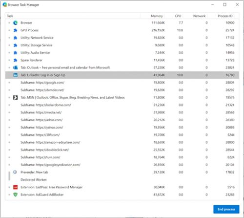 How to investigate Microsoft Edge's memory usage on Windows