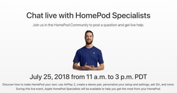 Get HomePod help directly from Apple specialists at a forum Q&A event July 25