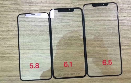 IPhone front glass leak shows identical notches on 3 models for 2018