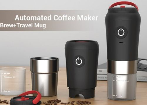 Beanque on-the-go coffee maker grinds and brews automatically