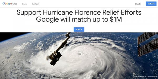 Google donating up to $2 million for Hurricane Florence, Typhoon Mangkhut recovery