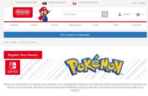 Nintendo Puts Up Registration Page For Pokemon On The Nintendo Switch