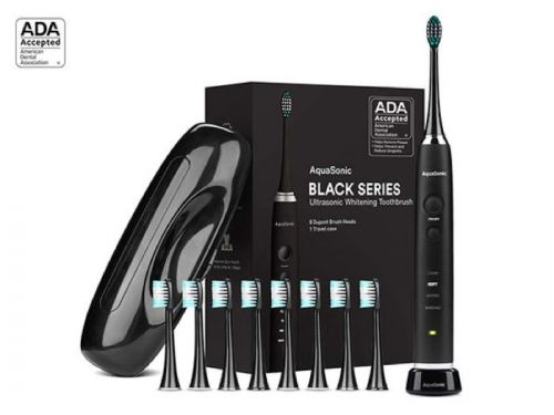 Save 71% on the AquaSonic Black Series Toothbrush & Travel Case With 8 Dupont Brush Heads