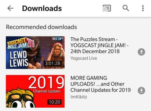 YouTube Testing Video Download Recommendations