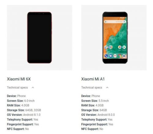 Xiaomi Mi 6X Pops Up On Google's Official Android Website