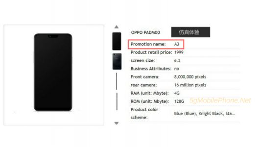 Android-Powered OPPO A3 Leaks Again With Price & Specs