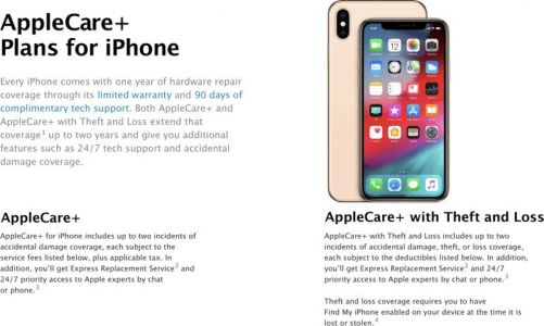 Apple Debuts New AppleCare+ Theft and Loss Plan Priced at $299 for iPhone XS and XS Max
