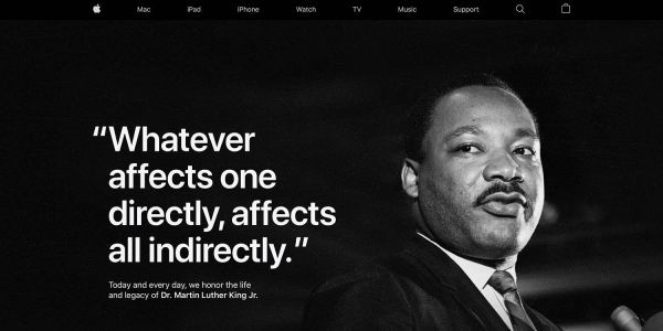 Apple once more dedicates homepage to celebrating Martin Luther King Jr Day