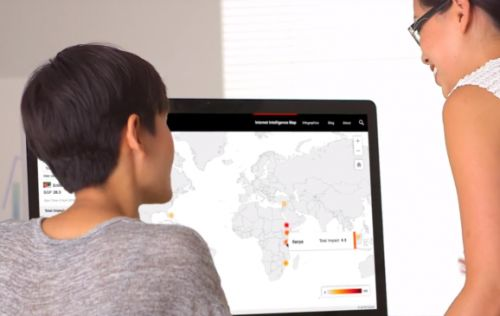 Oracle's Internet Intelligence Map presents a real-time view of online threats