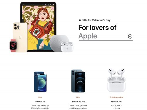 Apple Highlights iPhone 12, AirPods, HomePod Mini and More in Valentine's Day Gift Guide