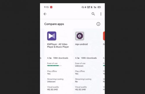 Google Play may be testing out an app comparison feature