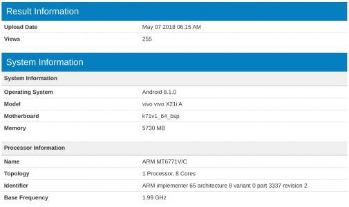 Vivo X21i A Spotted At Geekbench With MediaTek SoC & 6GB RAM
