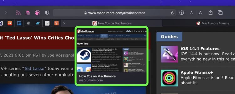 How to Disable Tab Previews in Safari on Mac