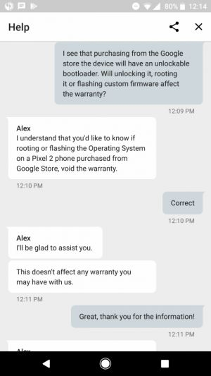 Google won't void the warranty on your rooted Pixel 2