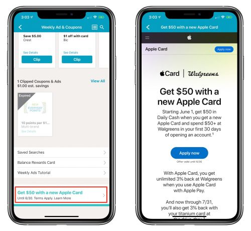 New Apple Card Users Can Earn $50 in Bonus Daily Cash When They Spend $50 at Walgreens