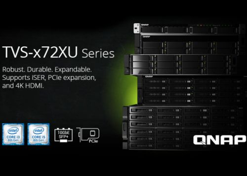 QNAP TVS-x72XU rack mounted NAS introduced